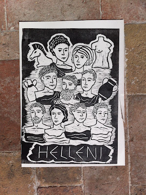 Helleni, Urbino 2012 Linoleum etching, these are my friends, designed and etched as busts ellenci.