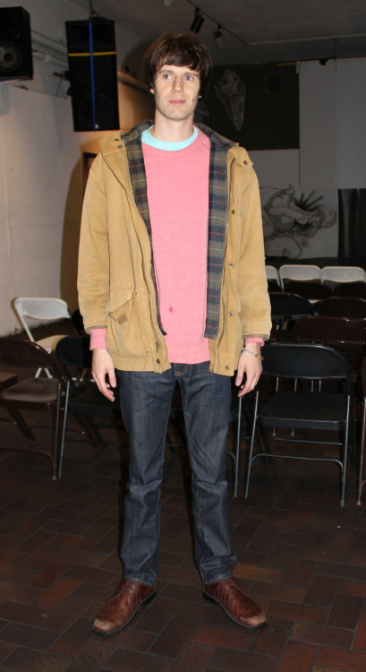 comedystylings:  Miles K. Jacket: Gap, from brother Sweatshirt: Alternative Earth, Jeremy's Jeans: Levi's, Slash Jeans Berkeley Shoes: Hush Puppies, Zappos.com Bracelet: handmade from a music festival more Miles K. here photo taken last night at the San Francisco Comedy and Burrito Festival