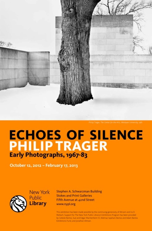 "Opening today is our new exhibition, ""Echoes of Silence: Philip Trager, Early Photographs, 1967-83"" in the Prints and Stokes Gallery on the third floor of the Schwarzman Building."