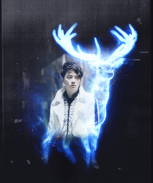 Patronus Charm AU :: collaboration with dereksgonna || Doh Kyungsoo - Stag