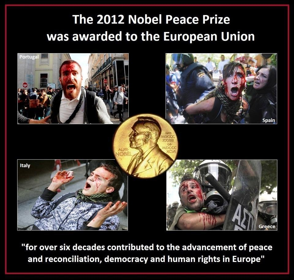 "#2012 #Nobel #PeacePrize awarded to #EU - ""for over six decades contributing to the advancement of peace…"""