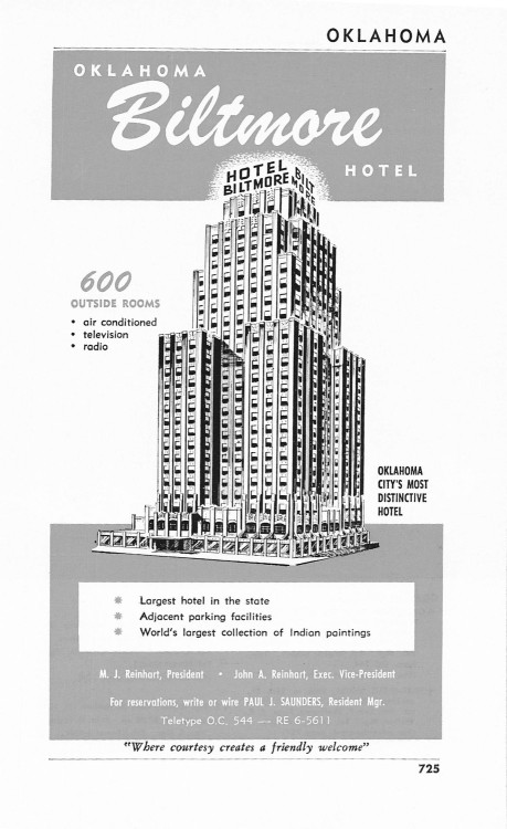 Biltmore Hotel, Oklahoma City, OklahomaVintage 1950s Ad via Holcroft Awesome hotel ad for what was (it says) largest hotel in Oklahoma. From seller:  1950s Hotel Advertisement - Biltmore Oklahoma City - Vintage Antique Retro 50s Era Pop Art Ad for Framing 50 Years Old This advertisement is from 1958.Page Measures aprox. 8.75x5.5For sale is the real deal, NOT a reproduction.