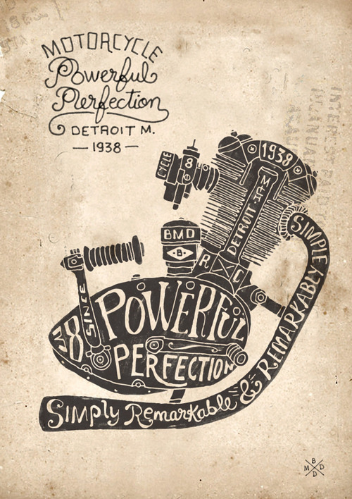 Daily Inspiration - Motorcycle Meets Typography Check us out at www.owlrepublic.com
