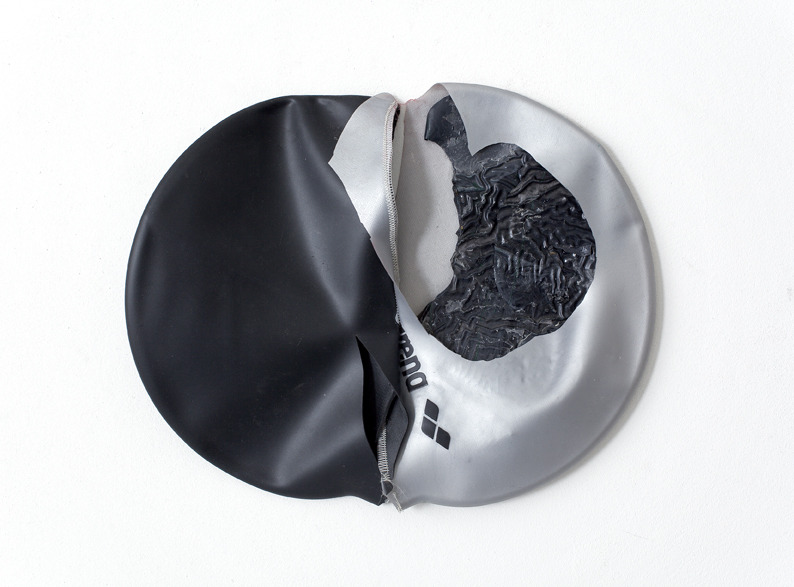Yaara Zach - Three is a crowd, 2010, sewn swimming caps, industrial peeled oil paint