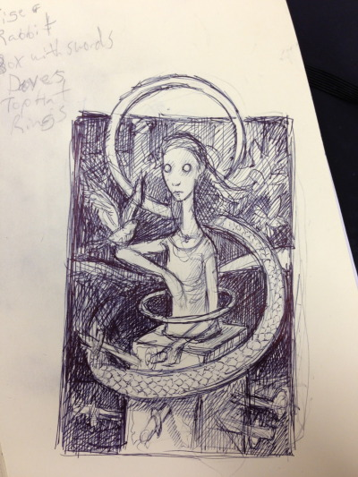 A quick pen sketch of an idea for a painting.  Follow Thomas Ascott