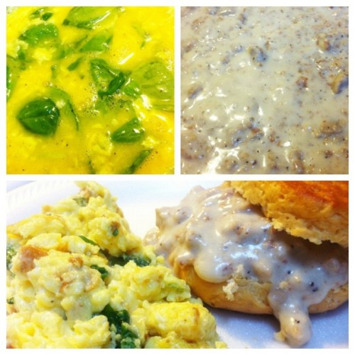 Bringing myself back to life with #food #foodporn #vegetarian sausage gravy and biscuits with scrambled eggs spinach and cheese #yum #yummy  (Taken with Instagram at The Pussy Palace)