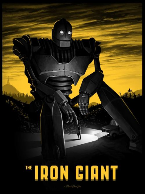 sirmitchell:  My Iron Giant poster being released by Mondo today at NYCC. You can see the variant edition here.  Holy moly frijole cannoli! Mike Mitchell, again for the win.