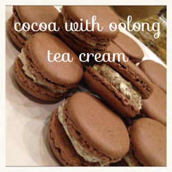 new flavor macarons I made the other day. Cocoa cookie with oolong tea cream filling