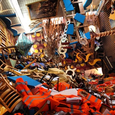 "Thomas Hirschhorn's ""Concordia"" at Barbara Gladstone is a monster. ""Concordia"" refers, natch, to the luxury liner that wrecked a few years ago, with the Italian captain who swiftly abandoned ship. In case the use of this as metaphor isn't evident, Hirschhorn has included Gericault's ""Raft of the Medusa"" up there on the ceiling — one of my favorite paintings in the world (last visited in a Louvre visit w @hilaryamason) —embedded in this new story about a new wreck of an old empire. There are also pages of what I think are Marx's ""Kapital"" which might be overkill but it's not one of those shows in which overkill is even possible. Cc Hans Haacke's ""Germania"" of 1992, winking at Caspar David Friedrich's ""Eismeer"". #alwayscrashinginthesame in a visit w @feleaks (Taken with Instagram at Gladstone Gallery)"