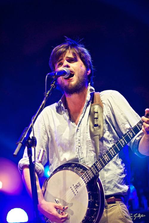 Winston Marshall of Mumford & Sons performs at Red Rocks Amphitheatre in Morrison, Colorado on August 28, 2012. Photo © Ty Hyten.