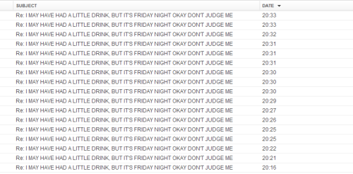 takemyhandjohn:  Friday night is for drinking and emailing your friends back and forth about appropriate first time gay sex acts, whether John Watson has hobbit feet, whether Sherlock shaved his whole body for an experiment, just what was under that sheet, whether soulbonds can be created through hair rubbing, crying over that fic that has Sherlock and John as an elf and a hobbit, whether dwarf/elf is interracial or interspecies, and whether Sherlock enjoys his own smooth hairless skin (I have not made a single spelling error here, it's wearing off!! \o/)  DRUNK!NIX IS THE BEST THING EVER.  I LOVE EVERYONE IN THIS THREAD! Don't forget bestiality and a certain group of people. And orgasm faces!!!