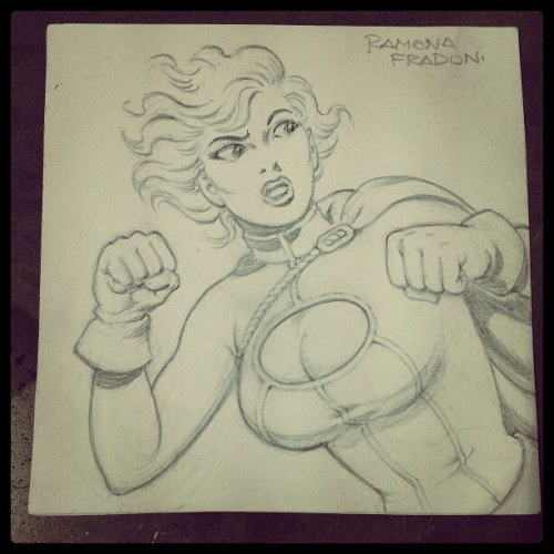 Is this an original Ramona Fradon sketch of Power Girl? YES IT IS! (Taken with Instagram)