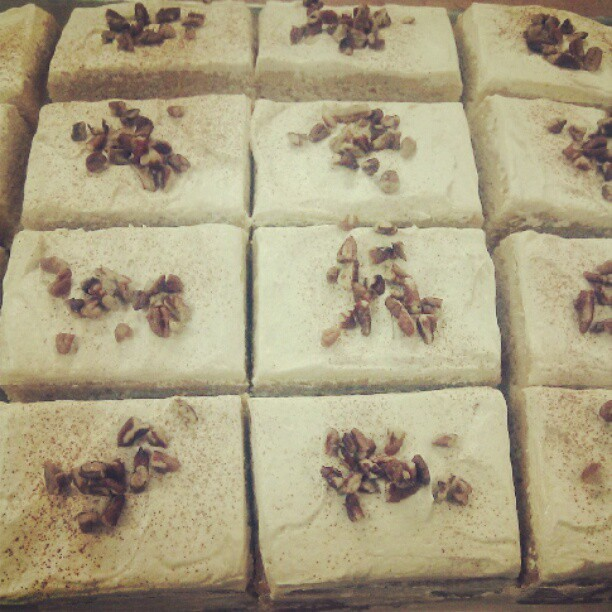 I made maple apple pecan cake slices today at #wholefoods! #vegan  (Taken with Instagram)