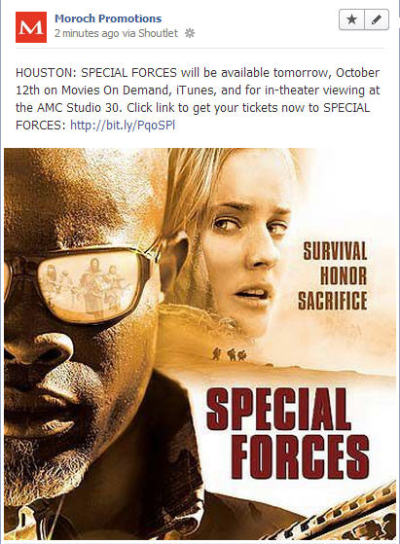 SPECIAL FORCES will be available now on Movies On Demand, iTunes.