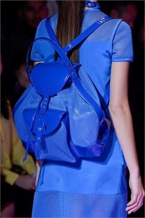 Catwalk's Trend: Backpack.  Neon blue @ Versus RTW S/S 2013