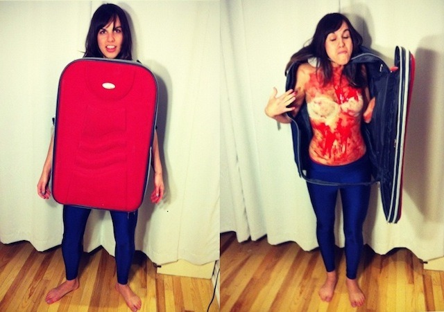 DIY Halloween Costume: Torso in a Suitcase Back in the day when Halloween was way cooler, Celts would dress up in scary costumes to frighten away demons. I like my costumes to follow the same notion because it's badass and because we've accumulated a lot of frightening shit over the past five centuries. One of the scarier stories that I've heard is of more recent history: The Tale of the Troubled Man-Boy Who Wanted to Become Famous by Dismembering Kittens and People.) That's why this year I decided to dress up as the infamous torso in a suitcase. Maybe I'll be able to rid the impulse-to-produce-snuff kinds of demons.  STEP 1: FIND A VICTIM You're going to have to cut up a suitcase, so find one that you don't really care about. I found mine at a second-hand store for eight dollars. At the same time, you can't just pick any old suitcase, so this might be a bit of a scavenger hunt. You have to make sure that whatever you choose will be big enough for the core of your body to fit inside of, and sturdy enough to hold up its structure. You're essentially just making a dress out of a suitcase, so choose something you're going to feel excited about.  STEP 2: CHOSE YOUR WEAPON What I didn't realize before starting the project is that it would require the use of power tools, which in this context made me feel sort of nauseous. If you don't trust yourself to use power tools without accidentally cutting off your own arms, get a friend to help! We used a Dremel mini-grinder. If you don't have one of these at home already, I would suggest buying one because they're awesome. That would bring the total cost of this costume up to 40 dollars, which is still considerably less than a shitty packaged costume you would find at a Halloween story. Plus you'll be the proud owner of a tiny, electric-powered death-bringer. CONTINUE