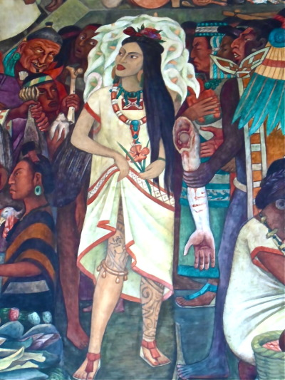 a particularly fierce diva in a section of Diego Rivera's mural at the Palacio Nacional