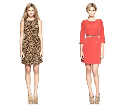 "simplyjess:  Two very versatile and very tempting Gap.com dresses on sale. Hmm. Leopard/Coral  i just bought the leopard and roommate bought the coral! FYI, i'm 5'5""ish and the leopard dress goes almost past my knees. gonna need to get it hemmed."