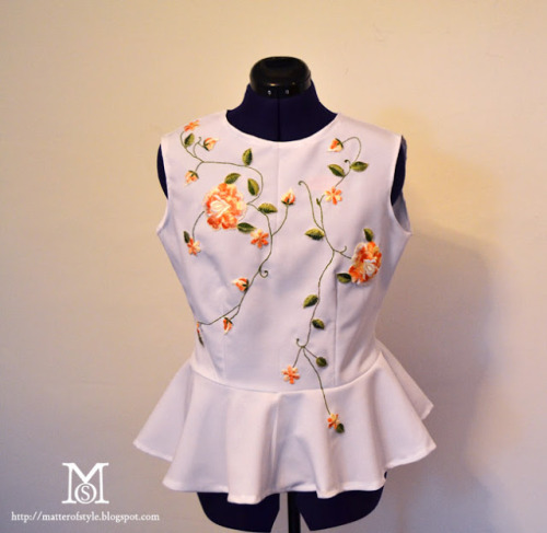 DIY Embroidered Top without Embroidering Tutorial from A Matter of Style here. The leaves are connected with simple embroidery. I have used the double sided interface she's talking about and it holds up for a long time. You could use this on pillows, sweaters, tees, etc…