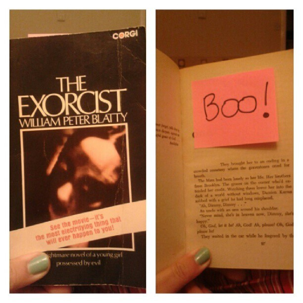 Reading The Exorcist and discovered my boyfriend stuck this in it.