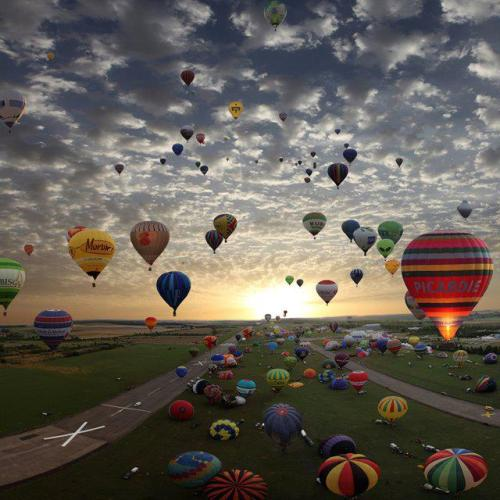 Hot-air balloon gathering in Chambley, France.