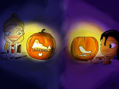 kiwys-chibis:  Miles away, carving their own pumpkins for Halloween. Love glows in the dark.