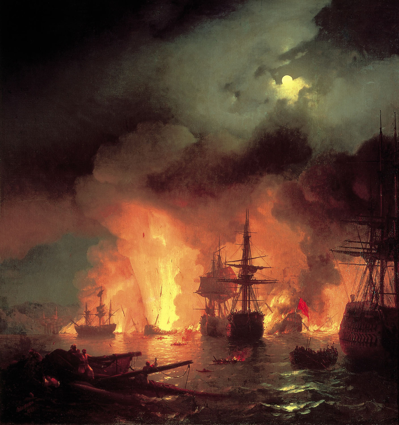 Battle of Chesma (1848), oil on canvas | artwork by Ivan Aivazovsky