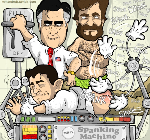 mittandrob:   Romney just ran his 5 sons through the spanking machine to warm it up for Ryan's toned buttocks. — rob delaney (@robdelaney) October 12, 2012