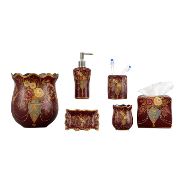 Oriental style bathroom accessories set comprises of 6 individual pieces of 1x waste basket, 1x soap dispenser, 1x soap tray, 1x tissue cover, 1x tooth brush holder, 1x cleaning mouthwash cup.