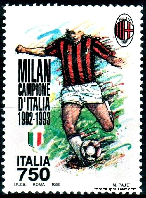 AC Milan - Campione d'Italia 1992/93 (via footballphilately)