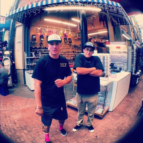 xfredo:  Young @marckncklhd and myself…#DTLA slight work in the new #LocalGold caps. ..$20  (Taken with Instagram at The Alley)