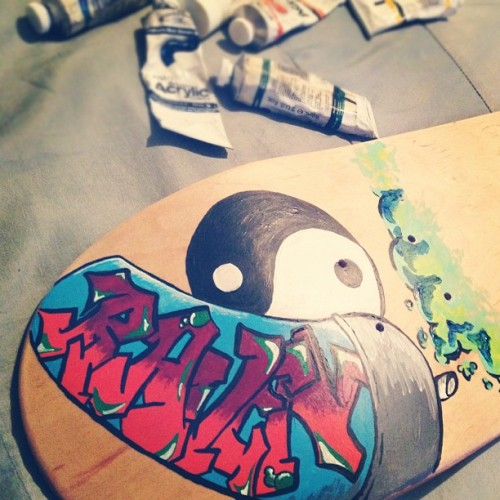 Customizing a skateboard ✌🎨 (Taken with Instagram)