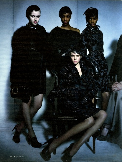Bara Holotova, Jourdan Dunn, Rose Cordero, and Sigrid Agren shot by Craig McDean for W Magazine May 2009