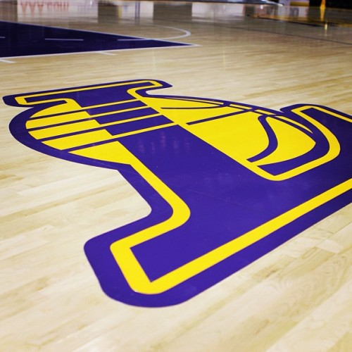 From the Lakers twitter:  Our secondary logo is now featured on the floor, just outside the key. Double-tap if you like it! More photos of the new court to come tomorrow. #NewLakersCourt