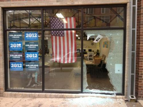 A shot was fired into the Obama campaign's Denver headquarters this afternoon.  No one was injured, although people were inside the office when this occurred.