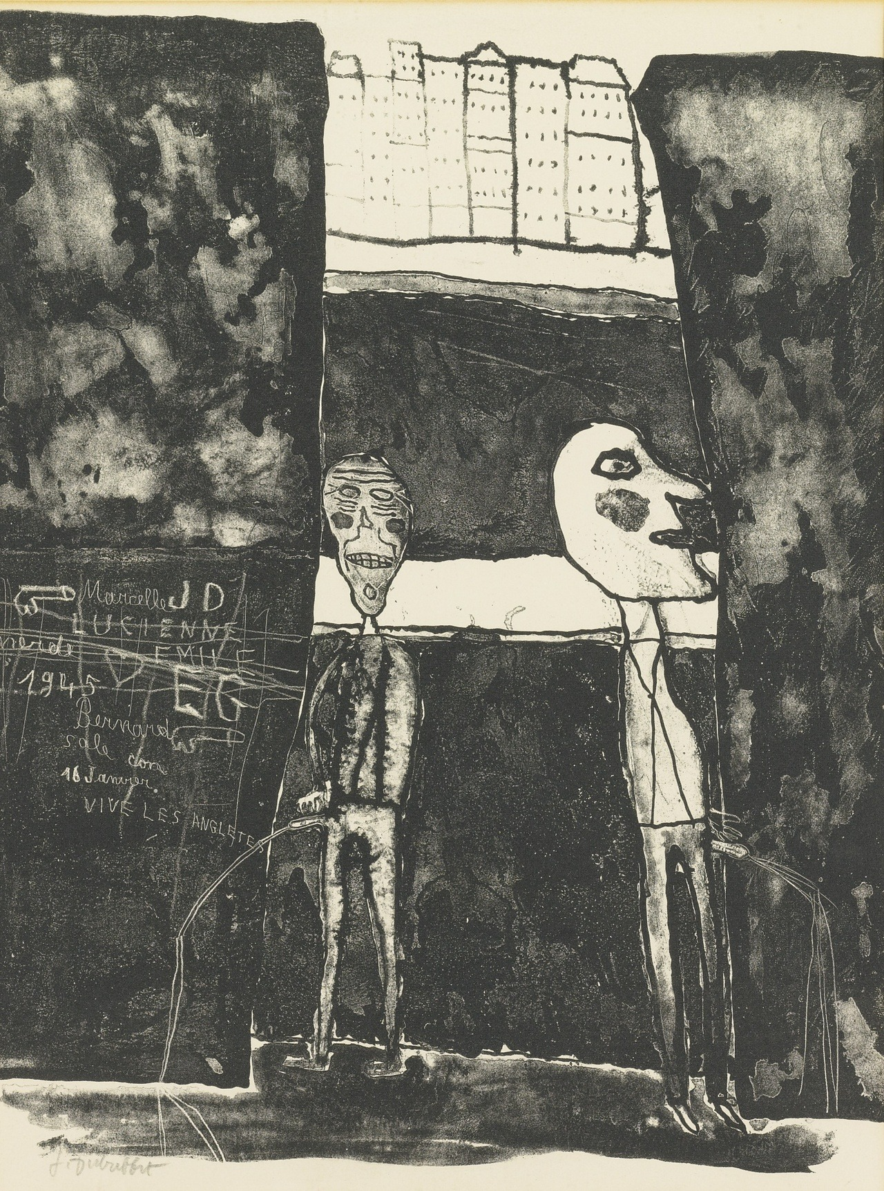 cruiseorbecruised:  blastedheath: Jean Dubuffet (French, 1901-1985), Pisseurs au mur, 1945. Lithograph on wove paper.