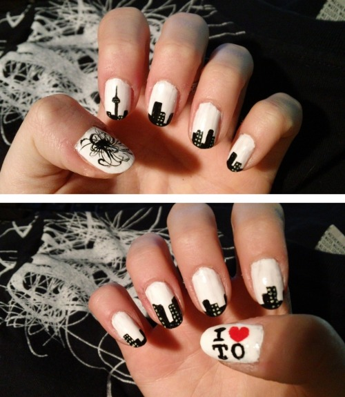 actuallyalice:  Nuit Blanche Toronto nails! Featuring some landmarks I love dearly~