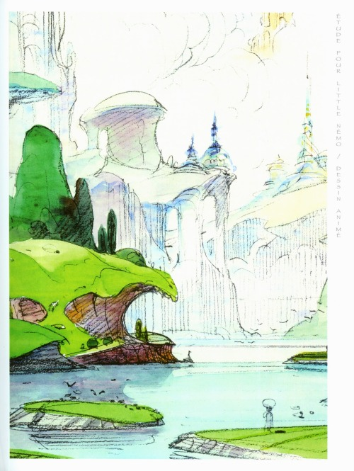 "theairtightgarage:  ""Study for Little Nemo"", from a catalogue of work from Moebius and Hayao Miyazaki's dual 2005 exhibition, Miyazaki et Moebius: Deux Artistes Dont Les Dessins Prennent Vie(Two Artists's Drawings Taking on a Life of Their Own)"