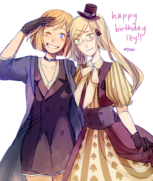 peridotte:  Happy birthday izy, hope it's been a wonderful one!! I've wanted to draw your cardverse designs for a while so yeah ;v;/