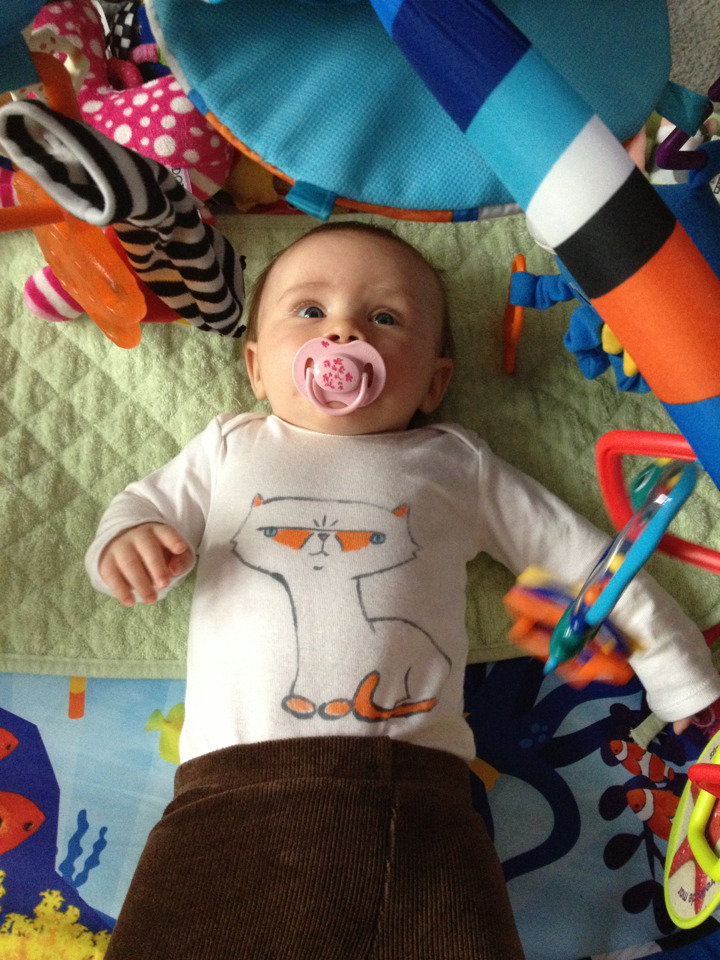 I made a Linus shirt for the baby!  The cats are still a little afraid of her, but Linus will rub against her if she's being held, and he's licked the top of her head a few times. I guess that means he's accepted her.