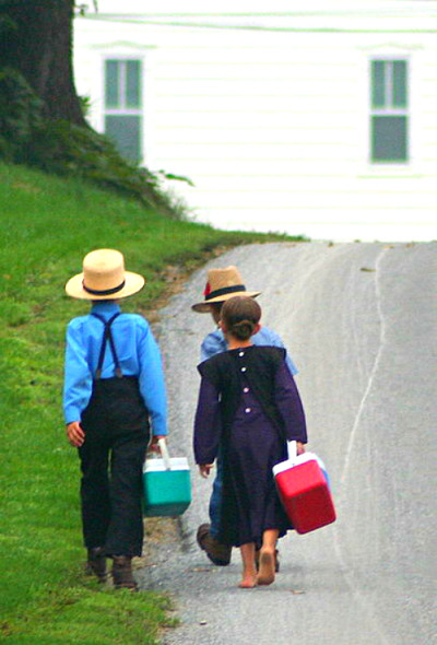 silentcuriosity:  Amish On The Way To School This file is licensed under the Creative Commons You are free: to share – to copy, distribute and transmit the work to remix – to adapt the work