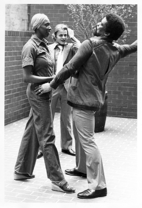 "vintageblackglamour:  Alvin Ailey directing Judith Jamison and Mikhail Baryshnikov during a 1976 press conference to announce the premiere of ""Pas de Duke,"" a duet he choreographed for them set to the music of Duke Ellington. Photo: Jack Vartoogian."