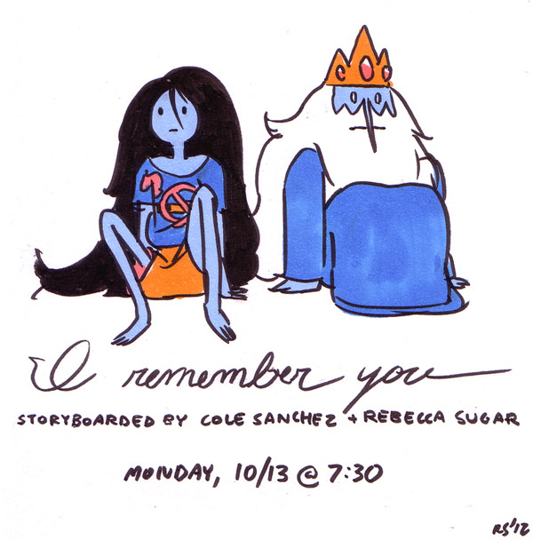 rebeccasugar:  All new Adventure Time, I REMEMBER YOU! Monday at 7:30!!! I love to write for Marceline, and Cole loves to write for Ice King, so we went all out with this one!!!