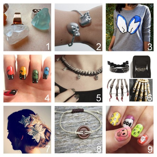 Roundup Nine DIY Jewelry, Beauty, Accessories and Fashion Tutorials PART ONE. Roundup of this past week. October 7th - October 13th, 2012. *For past roundups go here: trebluemeandyou.tumblr.com/tagged/roundup Easy Rock Rings Tutorial from diyearte here. DIY Skull Bracelet Tutorial from Dream a Little Bigger here. via halloweencrafts Markus Lupfer Inspired Sequin Bunny Ears Sweater from Honestly…WTF here. DIY Halloween Black Bat Nail Art Tutorial from Sly & Sam for LuLu's here. viahalloweencrafts Braided Chain Skull Necklace from Clones 'N' Clowns here. DIY Skeleton Hands Tutorial and Inspiration here. Top Photo: Skeletor Belt by Delfina Delettrez. Bottom Photos: DIY DSQUARED Rhinestone Skeleton Hand Brooch and DIY by Studs and Pearls. Anthropoligie Star Bloom Knockoff Hair Clips Tutorial from The Beauty Department here. Cord and Button Bracelet Tutorial from Crationary here. Halloween Waterslide Decals Nail Art Tutorial with Free Printable Designs from Small Good Things here.