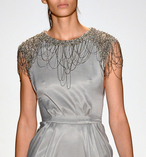Details of a House Stark gown Lela Rose NYFW Spring 2013