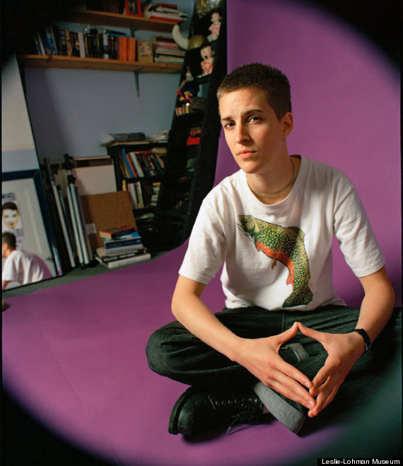 "gaylikethis:   Image from 1998 titled, ""Rachel Maddow At Home In My Studio"" by Del LaGrace Volcano, from the U.S. debut of the first retrospective of Volcano's work, ""Del LaGrace Volcano: A Mid-Career Retrospective"" . The LGBT photographer and self-described ""gender abolitionist"" has snapped photos of an array of people throughout the years, from drag kings to celebrities."