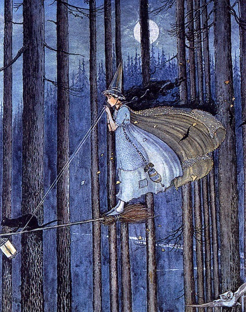 "elegantspell:  Ida Rentoul Outhwaite (1888-1960) ""The Witch on her Broomstick"" Illustration from ""The Enchanted Forest"" (1921)"