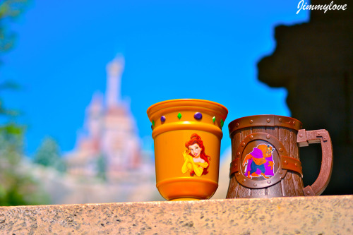 Souvenir mugs from Gaston's Pub at #NewFantasyland featuring Belle and the Beast!