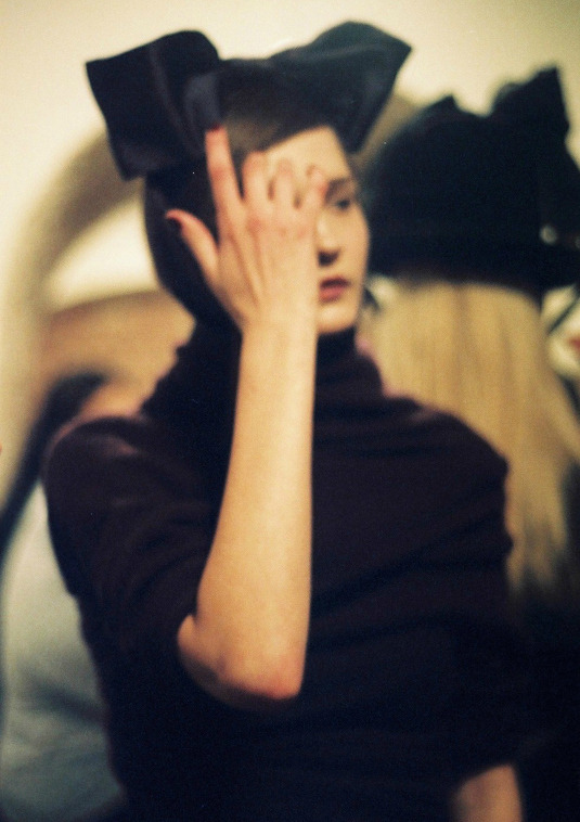 Vika Kuropyatnikova backstage at Richard Nicoll Fall/Winter 2008 by Claire Robertson