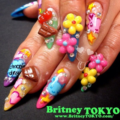 Chocolate lover hand painted & 3D mix nail art by Britney TOKYO ☆  ✌ ✿ ✡ ✟ ☺ ✞ TOKYO meets HOLLYWOOD ✞ ☺ ✟ ✡ ✿ ✌
